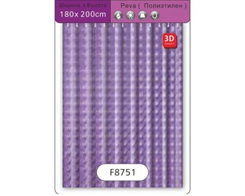 F8751 Шторка для ванны  3D Peva/Полиэтилен 180 см*200 см